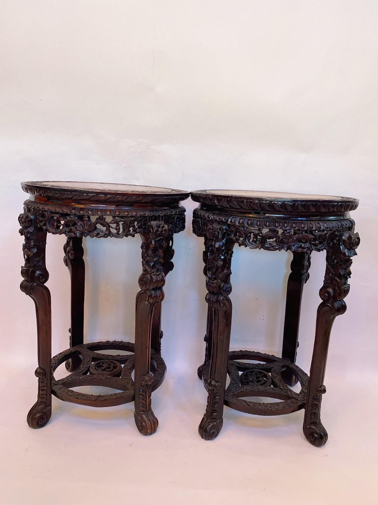 19th Century Pair of Chinese Carved Rosewood Flower Stands Marble-Top For Sale 11