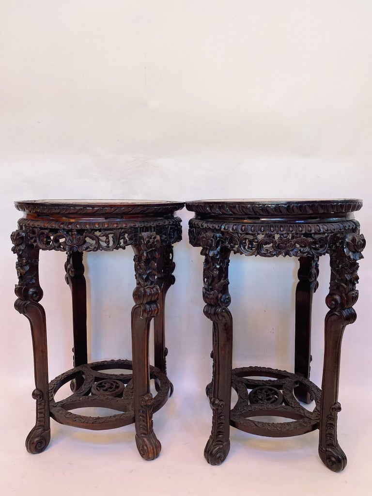 """19th century a pair of antique 31.5"""" large Chinese rosewood flower stands marble top insert, 2 pieces, the inset marble-top over carved rosewood apron, very antique and unique pieces, see more pictures. Measures: Height 31.5"""", 22"""" diameter."""