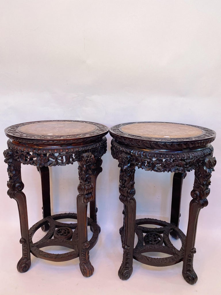 Chinese Export 19th Century Pair of Chinese Carved Rosewood Flower Stands Marble-Top For Sale