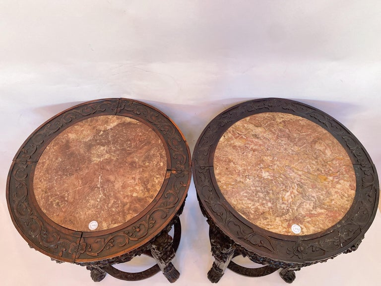 Hand-Carved 19th Century Pair of Chinese Carved Rosewood Flower Stands Marble-Top For Sale