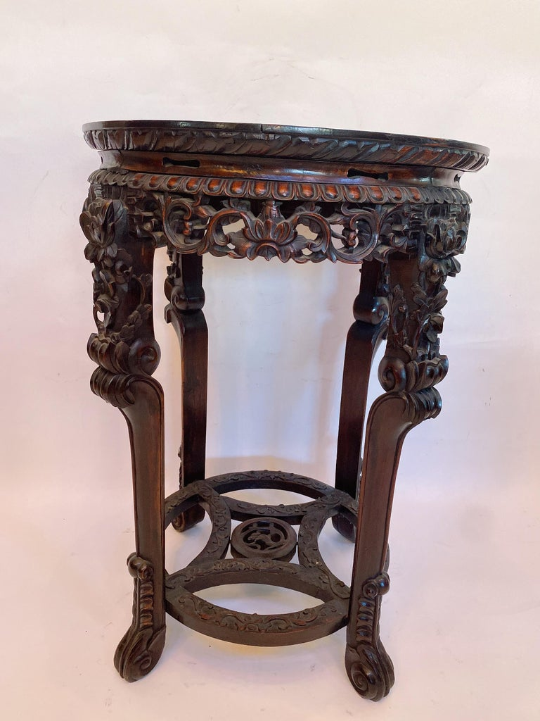 19th Century Pair of Chinese Carved Rosewood Flower Stands Marble-Top In Good Condition For Sale In Brea, CA