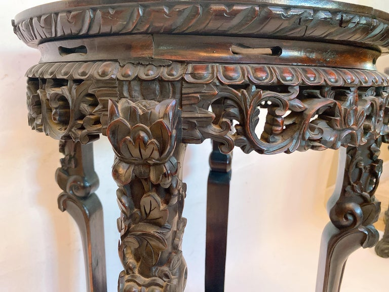 Hardwood 19th Century Pair of Chinese Carved Rosewood Flower Stands Marble-Top For Sale