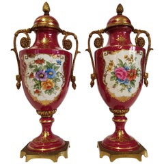 19th Century Pair of Antique French Vases in Sèvres Porcelain