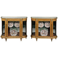 19th Century Pair of Antique Satin Birch Demilune Cabinets by Mellier & Co.