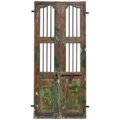 19th Century Pair of Antique Window / Doors Shutters from India with Metal Bars