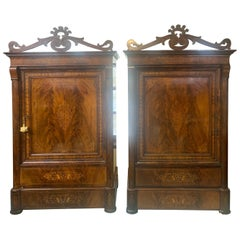 19th Century Pair of Armoires Charles X Mahogany Inlaid, 1820s