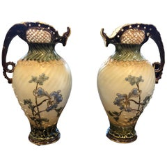 19th Century Pair of Austria Porcelain Pitchers EV Turn Marked, 1880s
