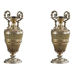 19th Century Pair of Austro-Hungarian Vases in Silver Gilt with Gemstones
