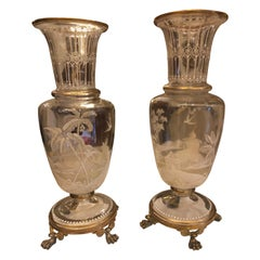 19th Century Pair of Baccarat Vases
