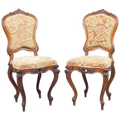 19th Century Pair of Baroque Walnut Chairs