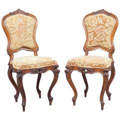 19th Century Pair of Baroque Walnut Chairs