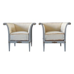19th Century Pair of Bergeres Fauteuils Armchairs
