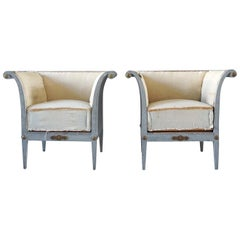 19th Century Pair of Bergères Fauteuils, Swedish Gustavian Pinewood Armchairs