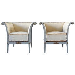 19th Century Pair of Bergères Fauteuils, Swedish Pinewood Armchairs