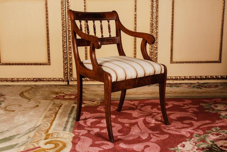 German 19th Century Pair of Biedermeier Style Mahogany Armchair Chair For Sale