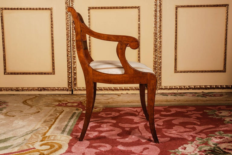 19th Century Pair of Biedermeier Style Mahogany Armchair Chair In Good Condition For Sale In Berlin, DE