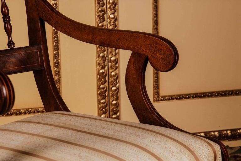 19th Century Pair of Biedermeier Style Mahogany Armchair Chair For Sale 4
