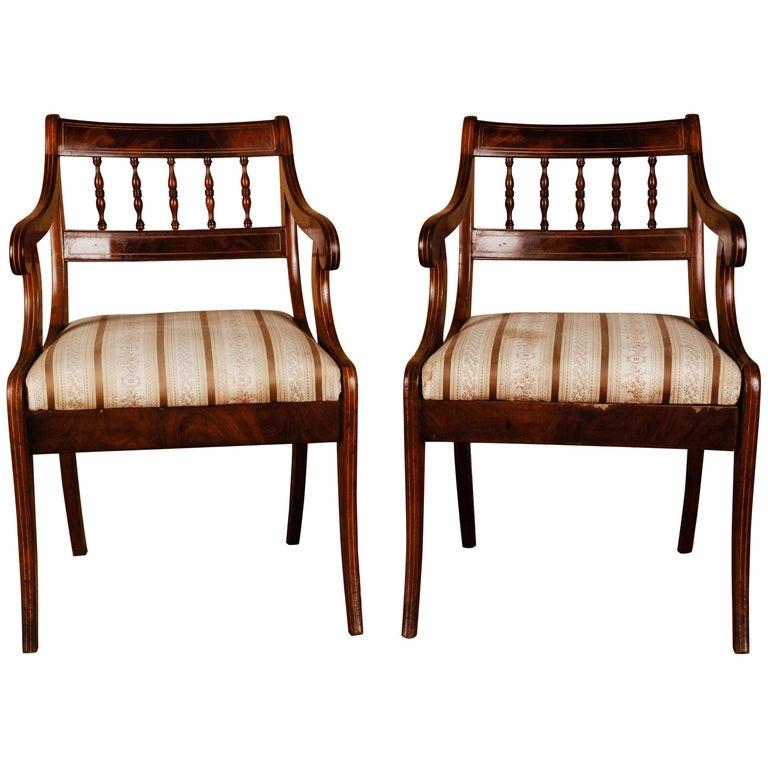19th Century Pair of Biedermeier Style Mahogany Armchair Chair For Sale