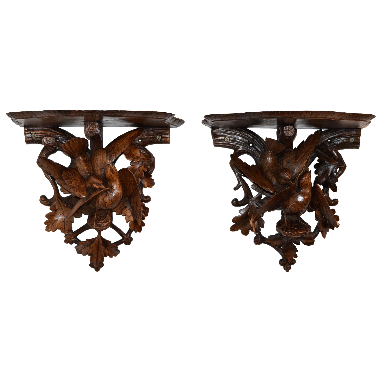 19th Century Pair of Black Forest Bracket Shelves