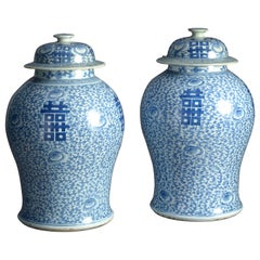 19th Century Pair of Blue and White Porcelain Vases and Covers