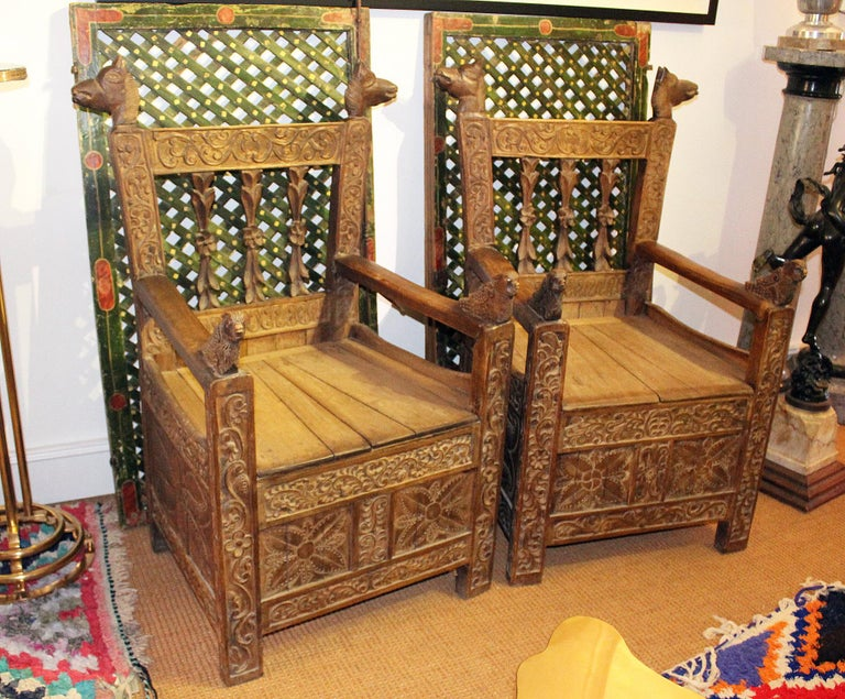 Hand-Carved 19th Century Pair of Bolivian Hand Carved Wooden Armchairs For Sale