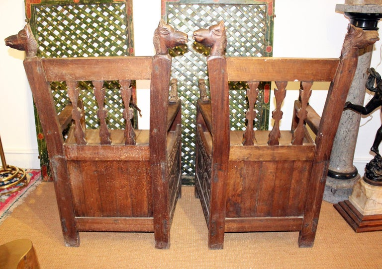 19th Century Pair of Bolivian Hand Carved Wooden Armchairs For Sale 3