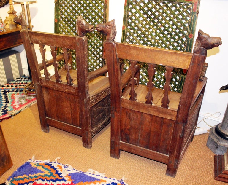 19th Century Pair of Bolivian Hand Carved Wooden Armchairs For Sale 4
