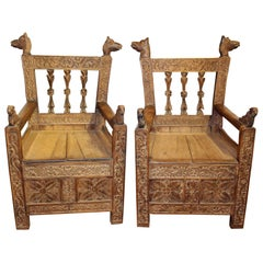 19th Century Pair of Bolivian Hand Carved Wooden Armchairs