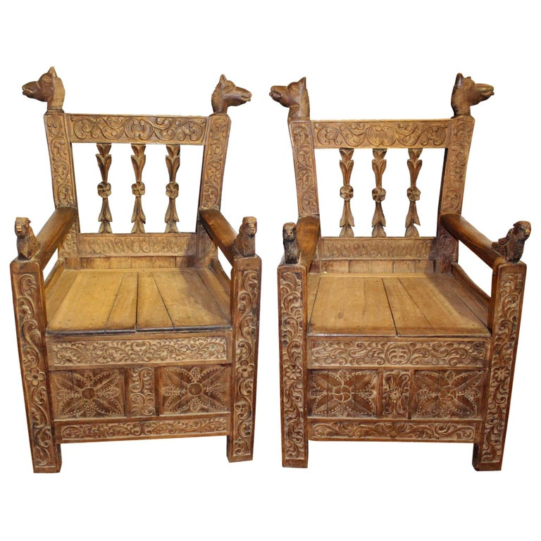 19th Century Pair of Bolivian Hand Carved Wooden Armchairs For Sale