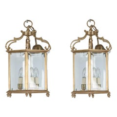 19th Century Pair of Brass Hexagonal Lanterns