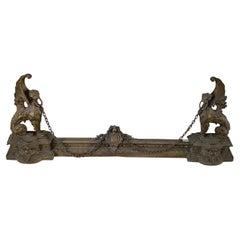 19th Century Pair of Bronze Andirons Adjustable