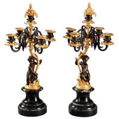 19th Century Pair of Bronze Candelabra with Putti