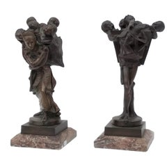 19th Century Pair of Bronze Figures: The Bogeyman and his Wife