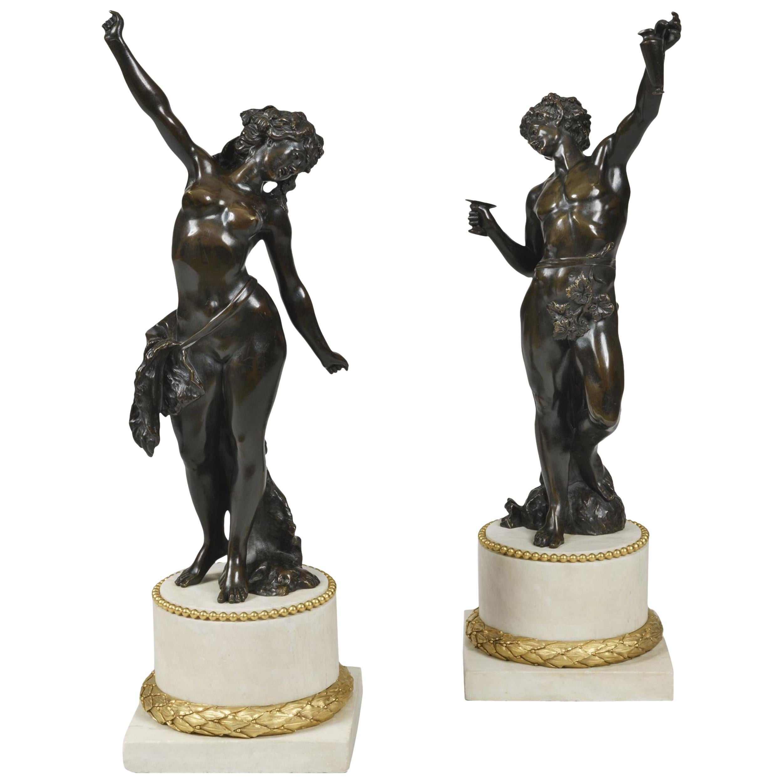 19th Century Pair of Bronze Statues after Models by Clodion