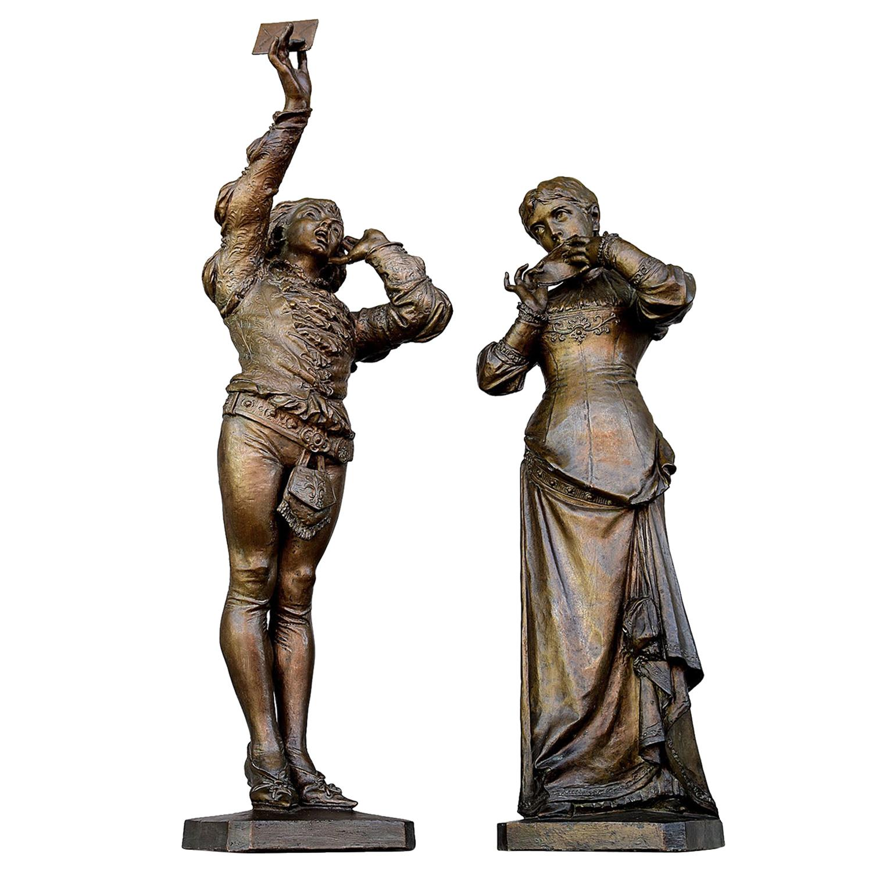 19th Century Pair of Bronze Statues Romeo and Juliet