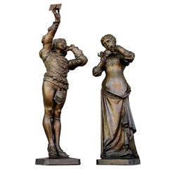 19th Century Pair of Bronze Statues Romeo and Juliet