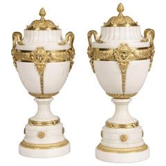 19th Century Pair of Carrara Marble Vases