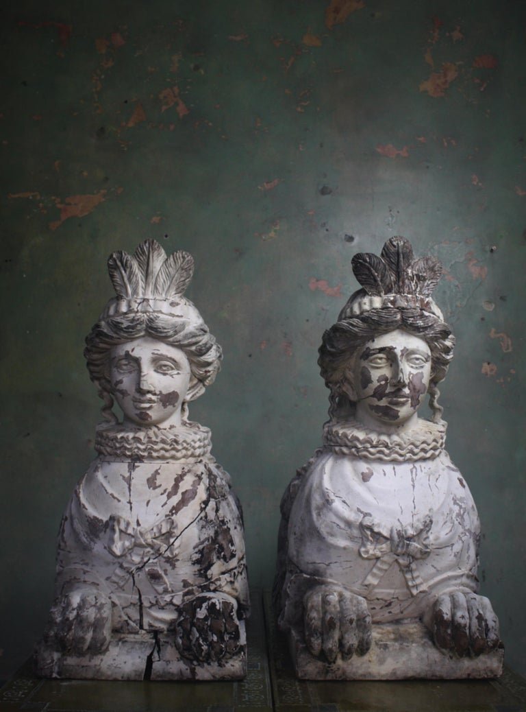 19th Century Pair of Carved Entrance Guardians, Neoclassical Carved Sphinxes For Sale 7