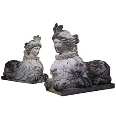 19th Century Pair of Carved Entrance Guardians, Neoclassical Carved Sphinxes