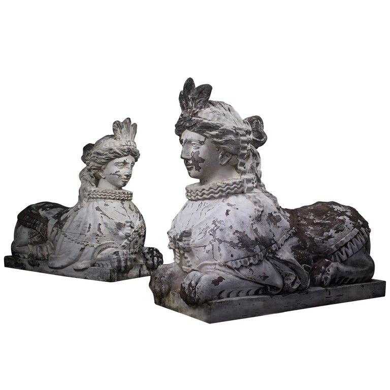 19th Century Pair of Carved Entrance Guardians, Neoclassical Carved Sphinxes For Sale