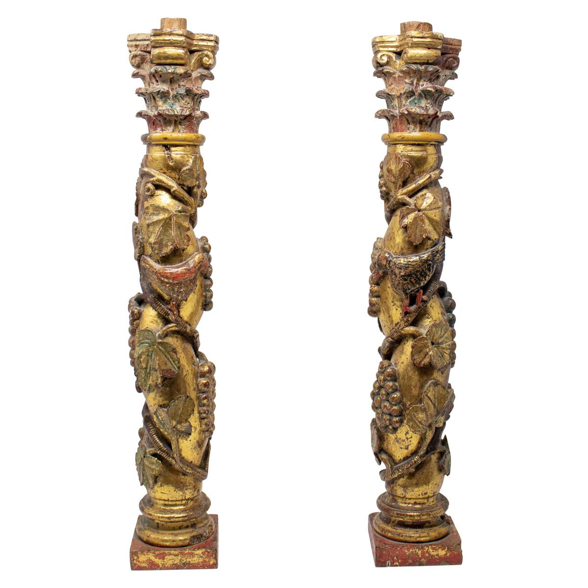 19th Century Pair of Carved Salomonic Gild Wood Spanish Castilian School Columns