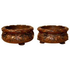 19th Century Pair of Carved Wine Coasters