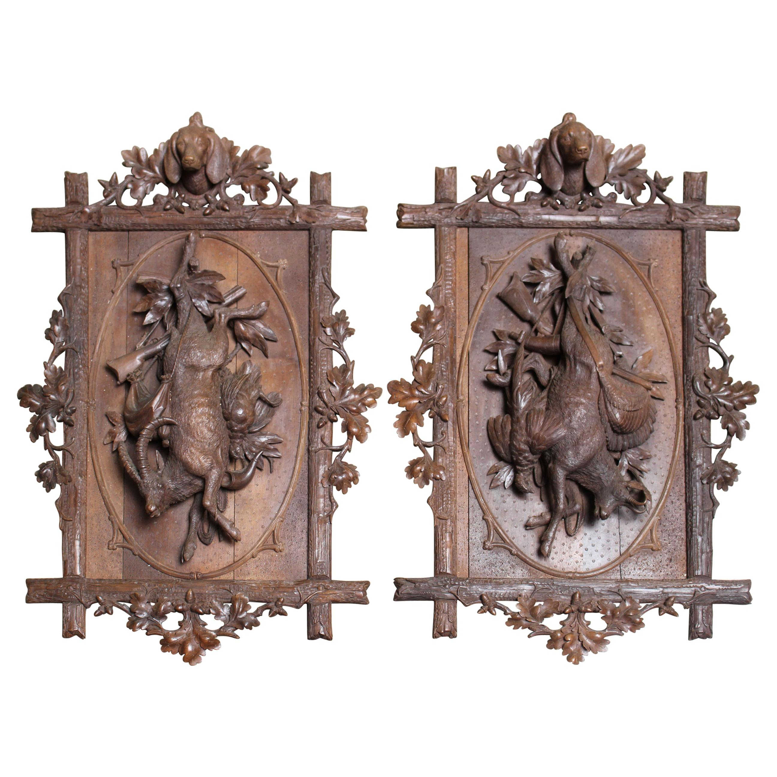 19th Century Pair of Carved Wood Panels with a Hunting Motif