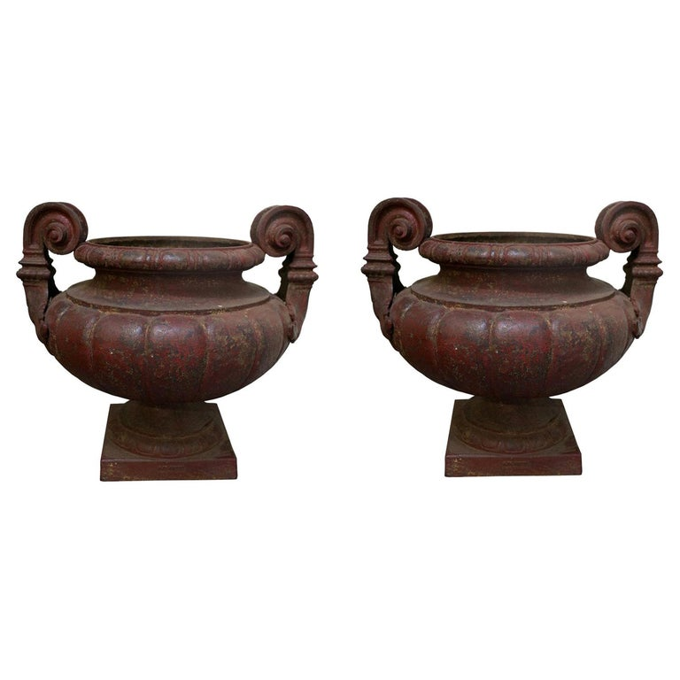 19th Century Pair of Cast Iron Medici Urns Cast by Durenne-Founder in AIX For Sale