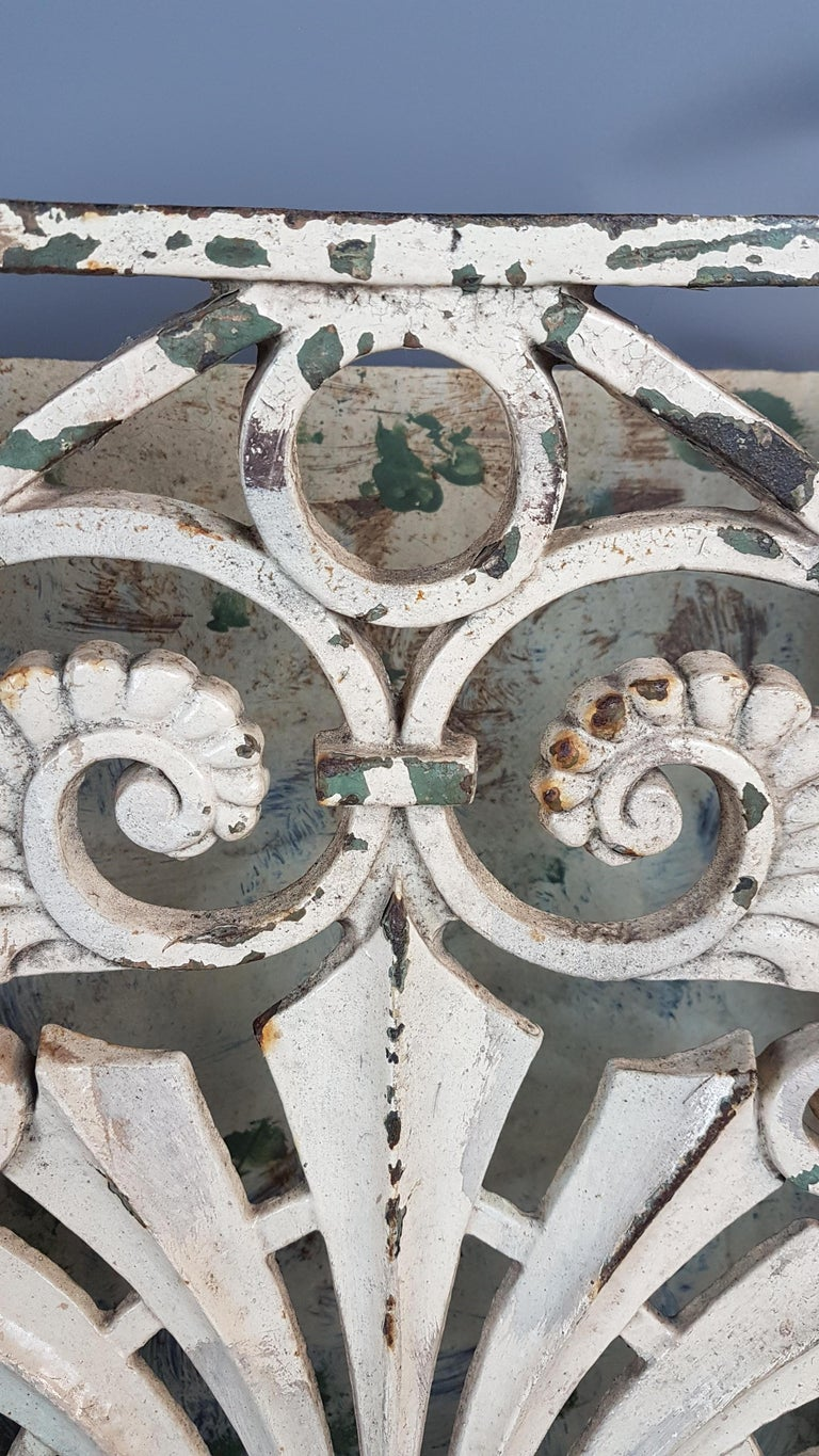 Rococo 19th Century Pair of Cast Iron Wall Mounts in Original Paint For Sale