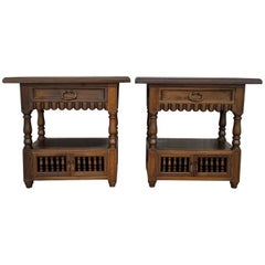 19th Century Pair of Catalan, Spanish Nightstands with Drawers and Open Shelf