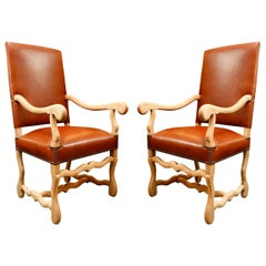 19th Century Pair of Chairs in Bleached Oak and Elm, Upholstered in Leather