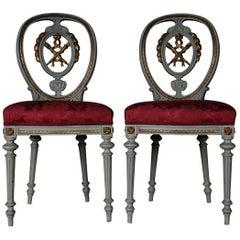 19th Century Pair of Chairs Louis Seize XVI, 1880