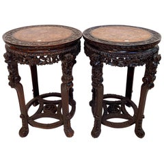 19th Century Pair of Chinese Carved Rosewood Flower Stands Marble-Top