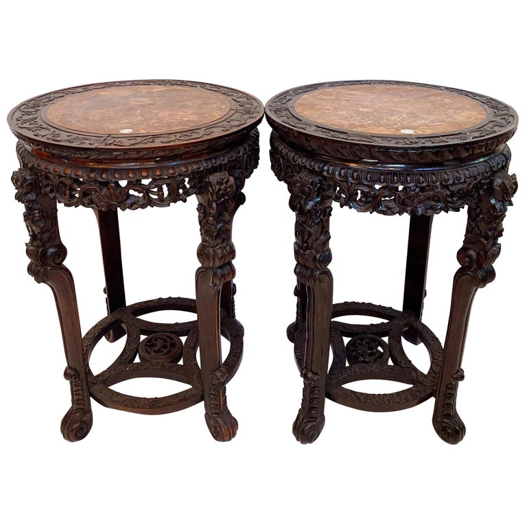 19th Century Pair of Chinese Carved Rosewood Flower Stands Marble-Top For Sale